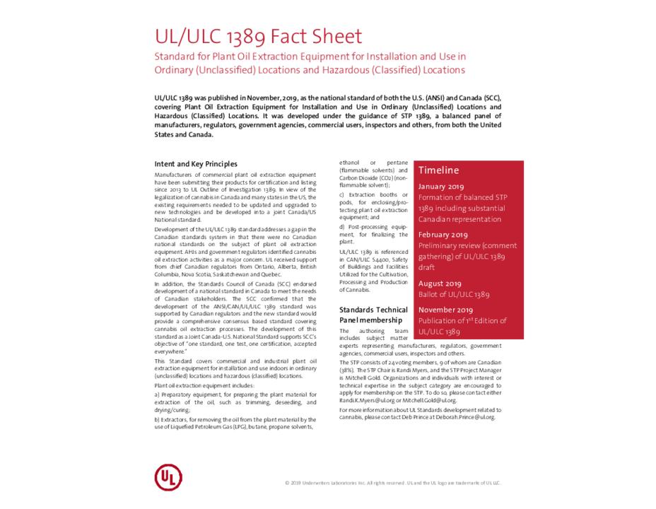 UL1389 Fact Sheet
