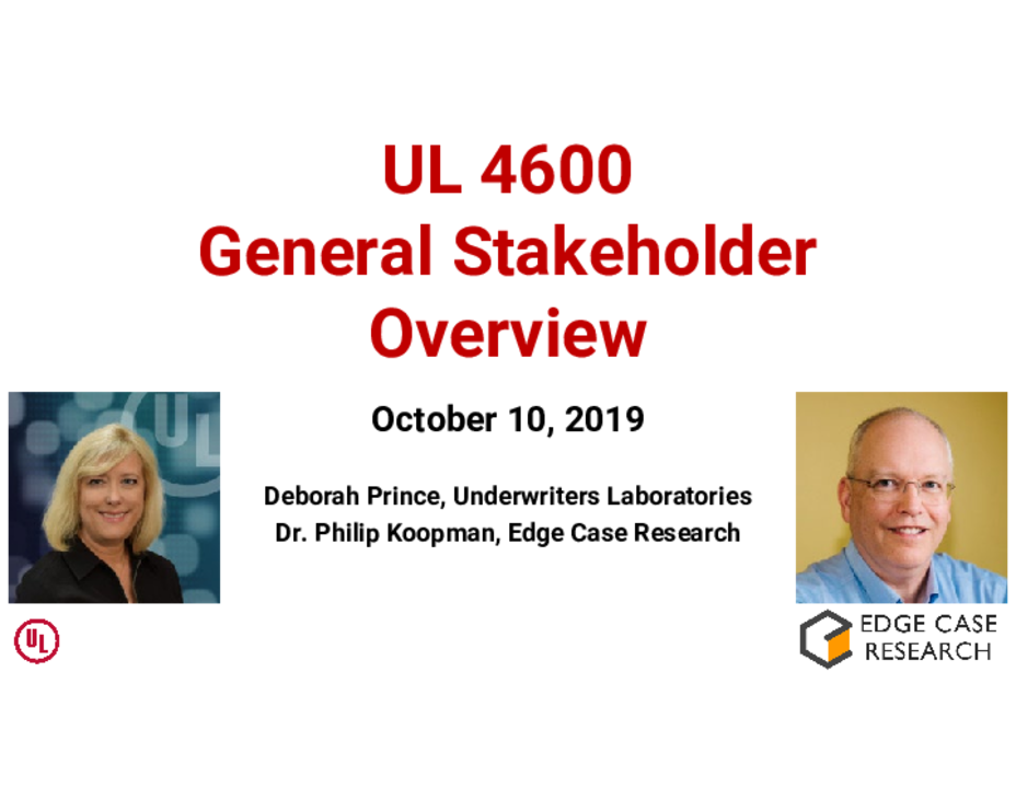 UL 4600 General Stakeholder Webinar - October, 2019