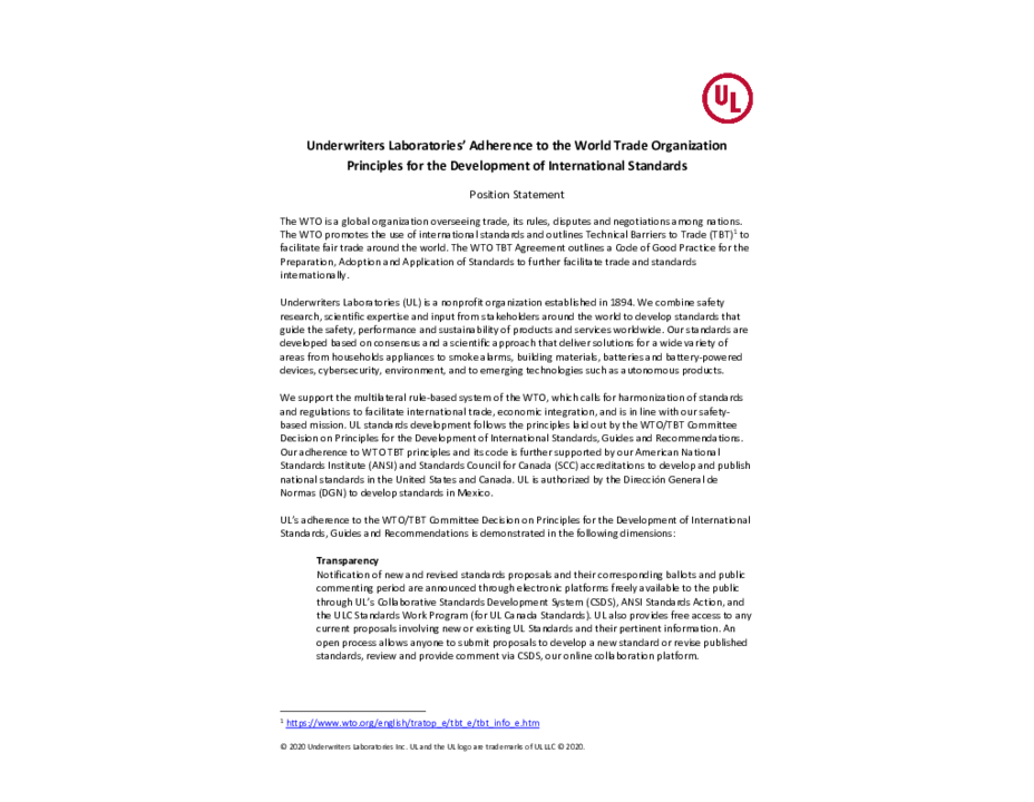Underwriters Laboratories' Adherence to the WTO Principles for the Development of International Standards