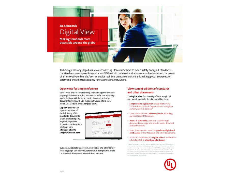 UL Standards Digital View Functionality Overview