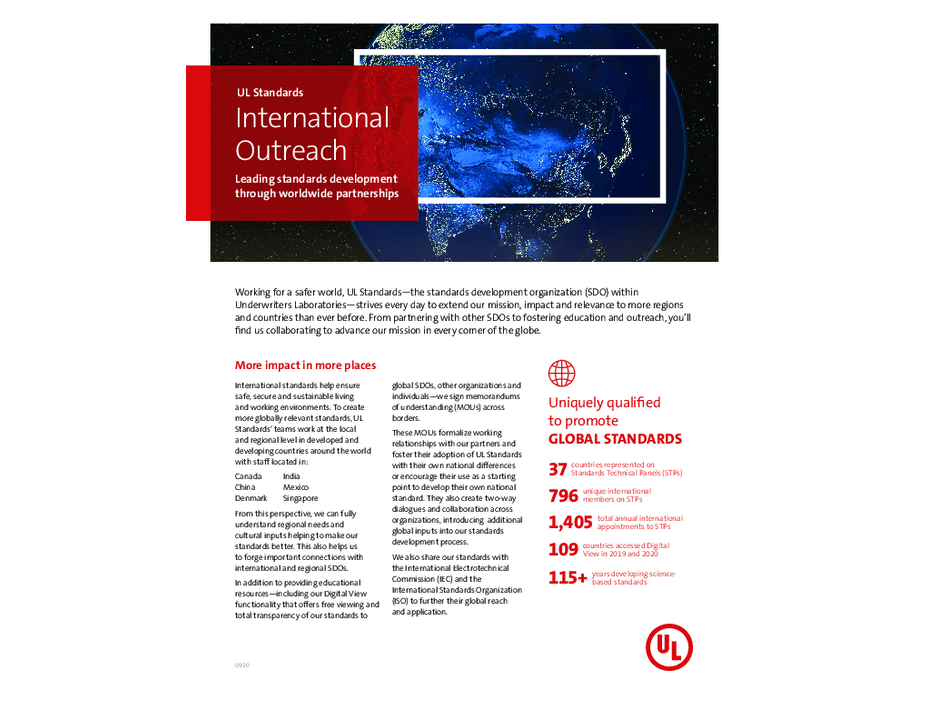 UL Standards International Outreach Overview