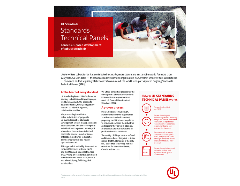 UL Standards Overview of Standards Technical Panels