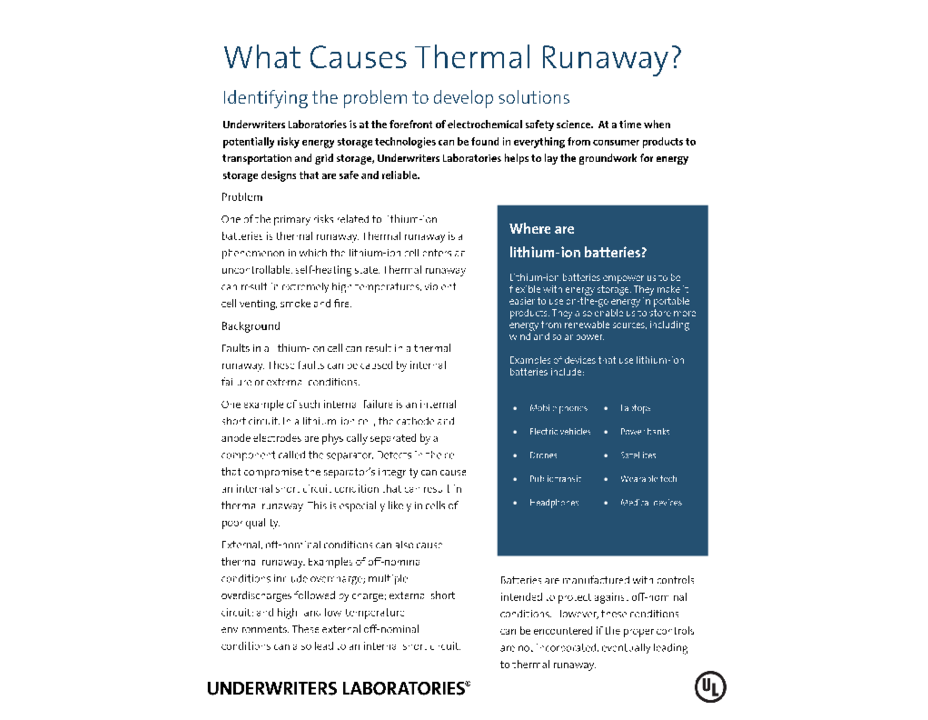 What Causes Thermal Runaway? (Fact Sheet)
