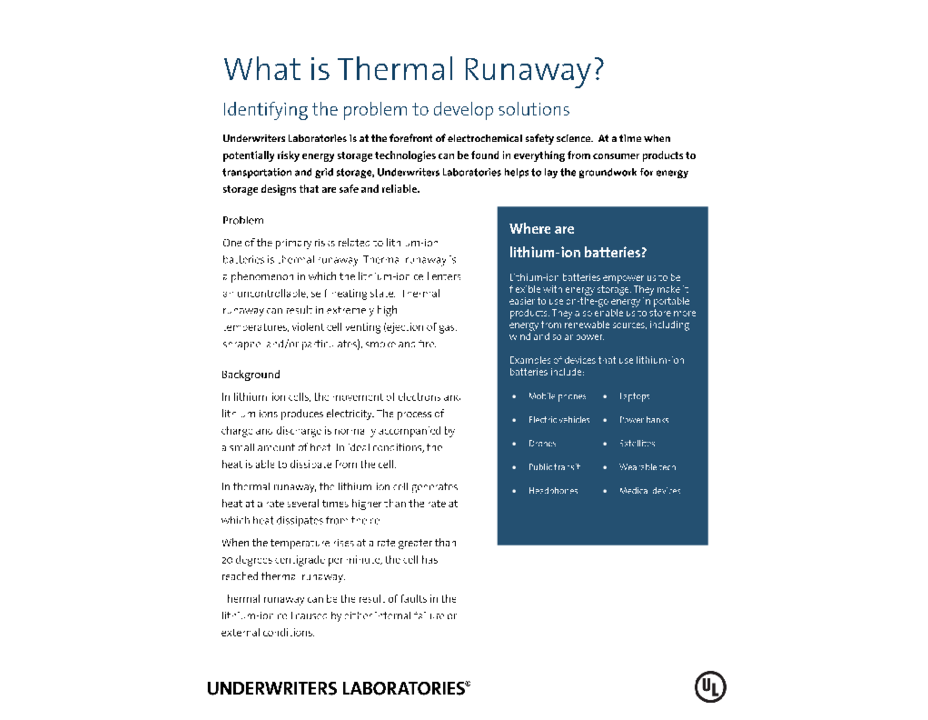 What Is Thermal Runaway? (Fact Sheet)