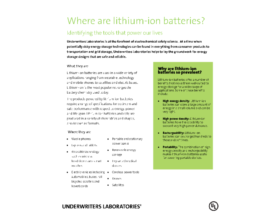 Where Are Lithium-Ion Batteries? (Factsheet)