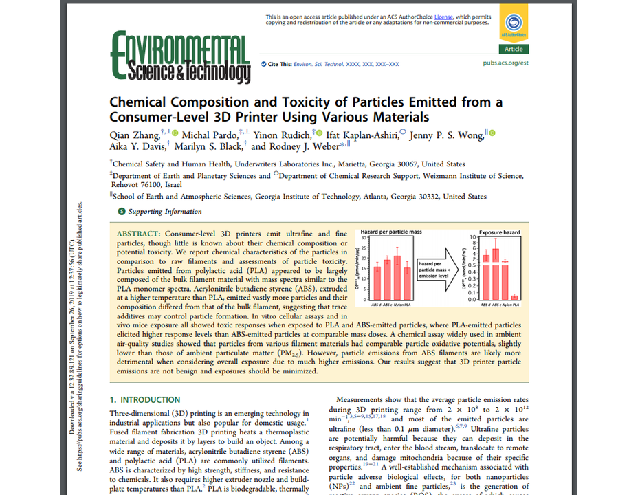 "Journal Article: ""Chemical Composition and Toxicity of Particles Emitted from a Consumer-Level 3D Printer Using Various"
