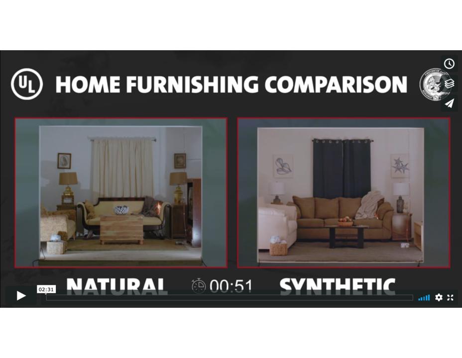 UL FSRI Home Furnishings Comparison (Natural vs. Synthetic) Video