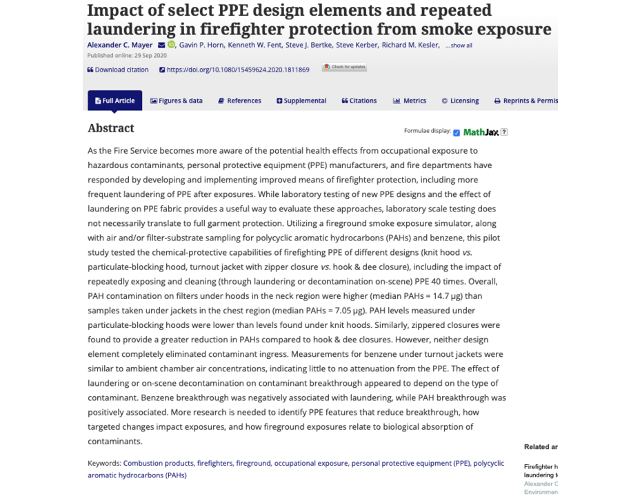 Impact of select PPE design elements and repeated laundering in firefighter protection from smoke exposure