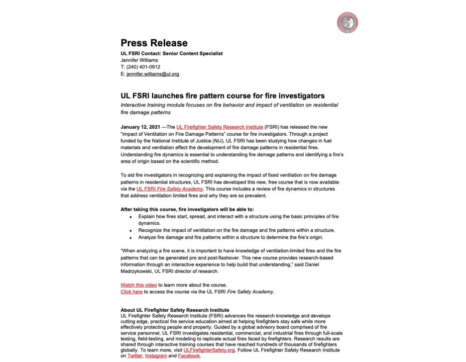 Press Release: UL FSRI launches fire pattern course for fire investigators