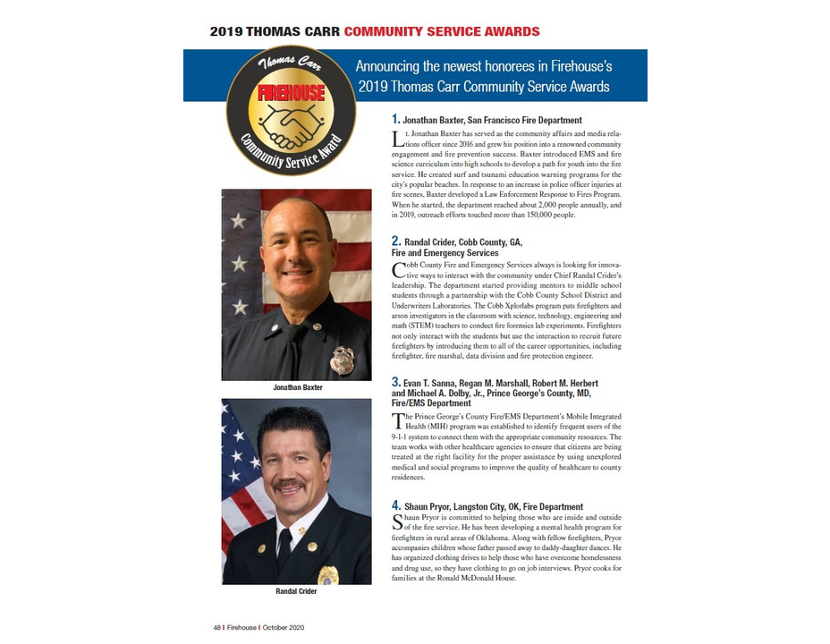 Firehouse Magazine: 2019 Thomas Carr Community Service Awards